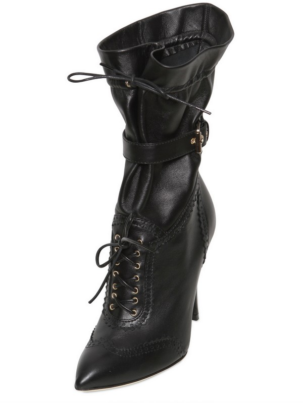 Francesco Scognamiglio 100mm Perforated Calfskin Pointy Boots in Black