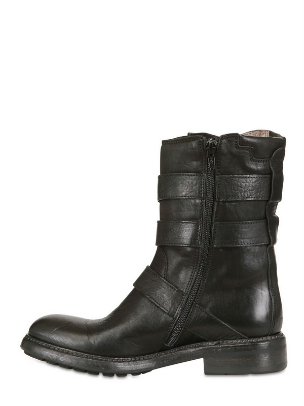 FRU.IT 20mm Multi Buckled Leather Low Boots in Black