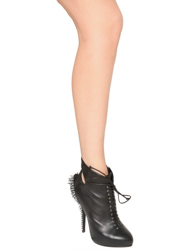 Giuseppe Zanotti 140mm Nappa Spiked Low Boots in Black