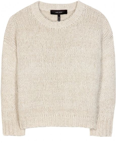 Isabel Marant Vadim Cropped Pullover in Beige (oatmeal)