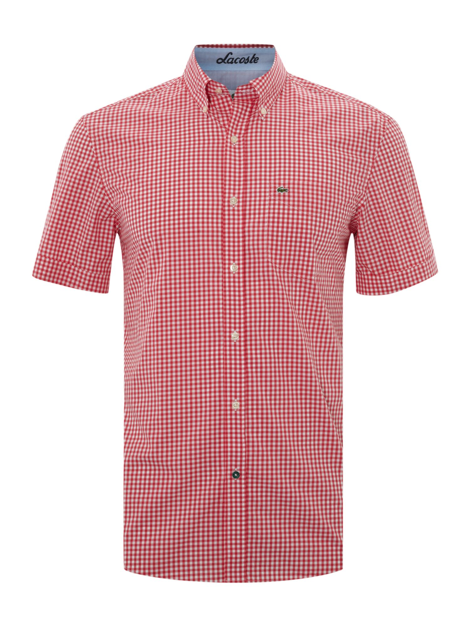 Lacoste Short Sleeved Checked Shirt in Pink for Men | Lyst