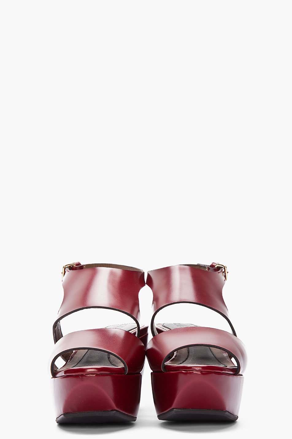 Lyst Marni Leather Wedge Sandals In Red