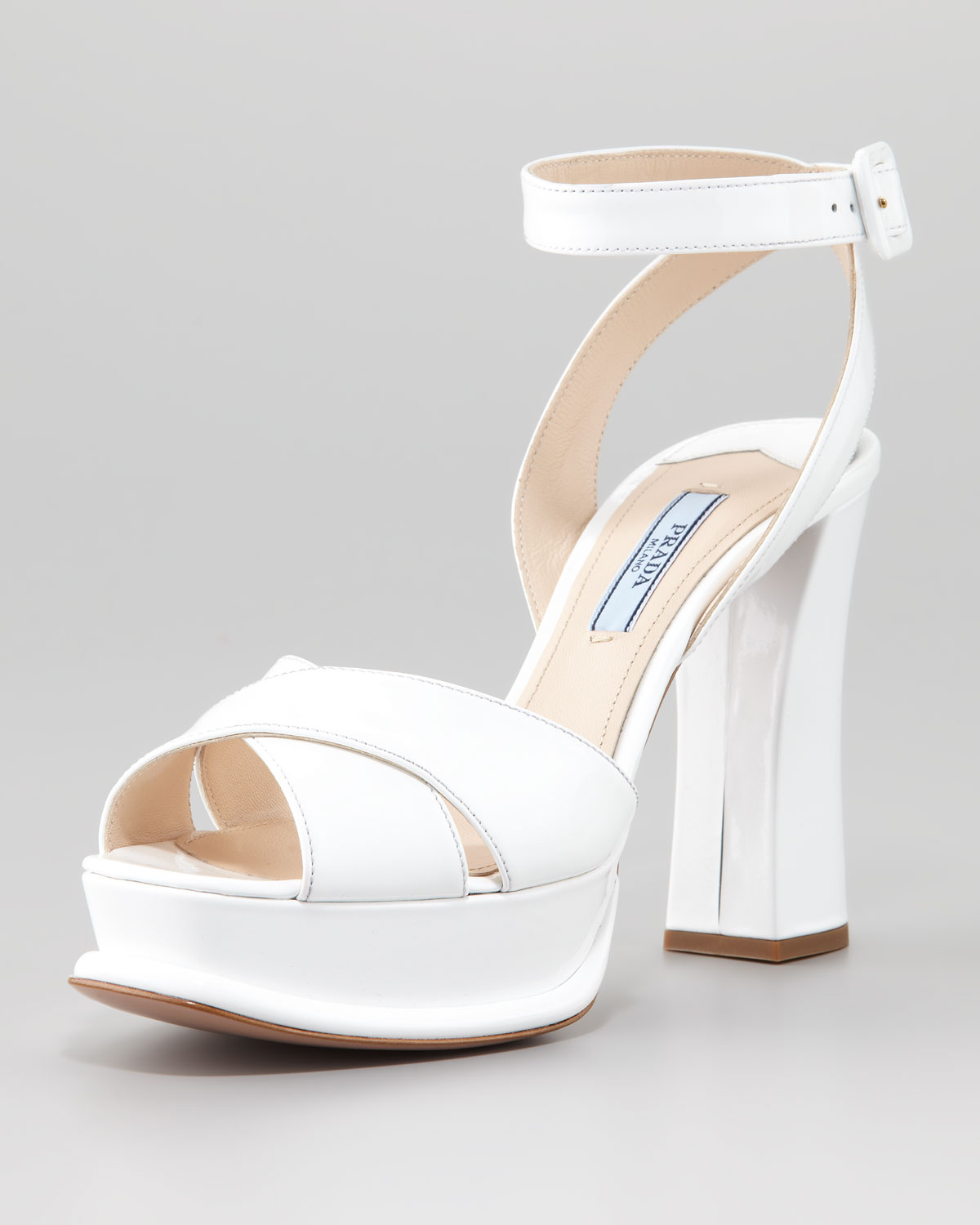a2d745a8bc1 Lyst - Prada Patent Leather Platform Sandal in White