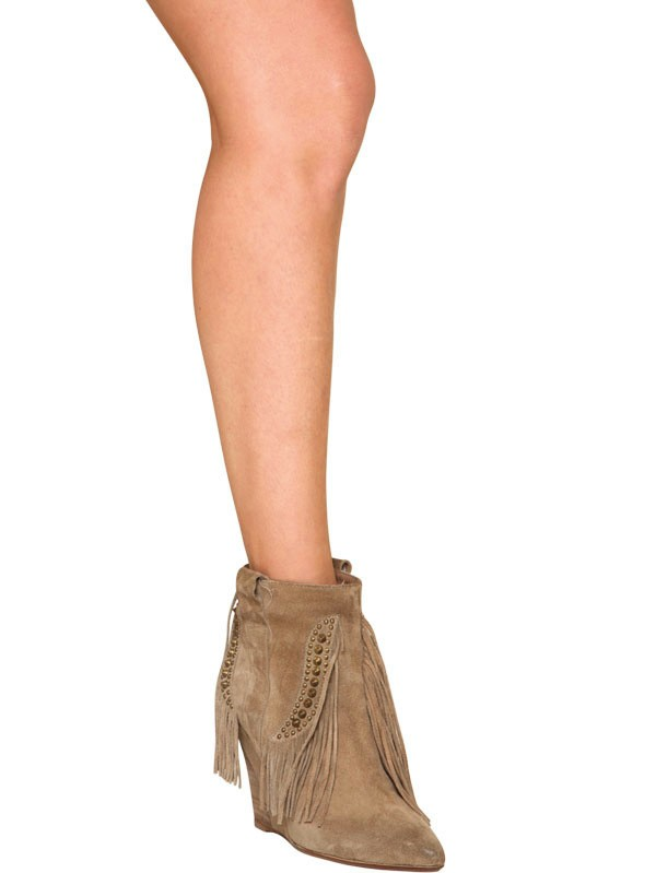 Strategia 90mm Suede Fringe Wedge Boots In Brown Lyst