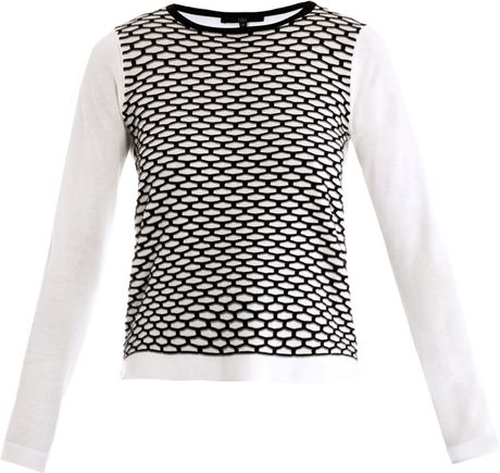Tibi Sporty Mesh Intarsia Knit Sweater in White (ivory)
