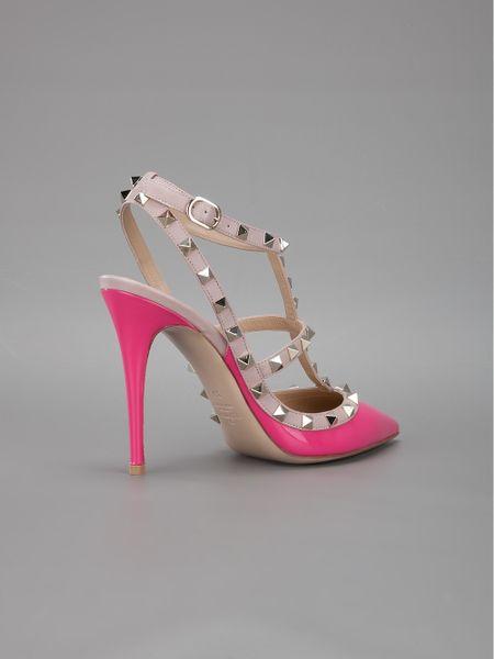 Valentino Strappy Stiletto Heel In Pink Lyst