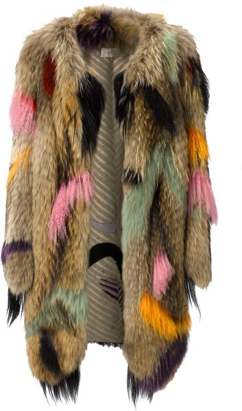 Wunderkind Dip Dyed Fur Coat in Multicolor (multi)