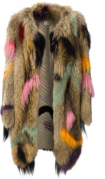 Wunderkind Dip Dyed Fur Coat in Multicolor (multi)