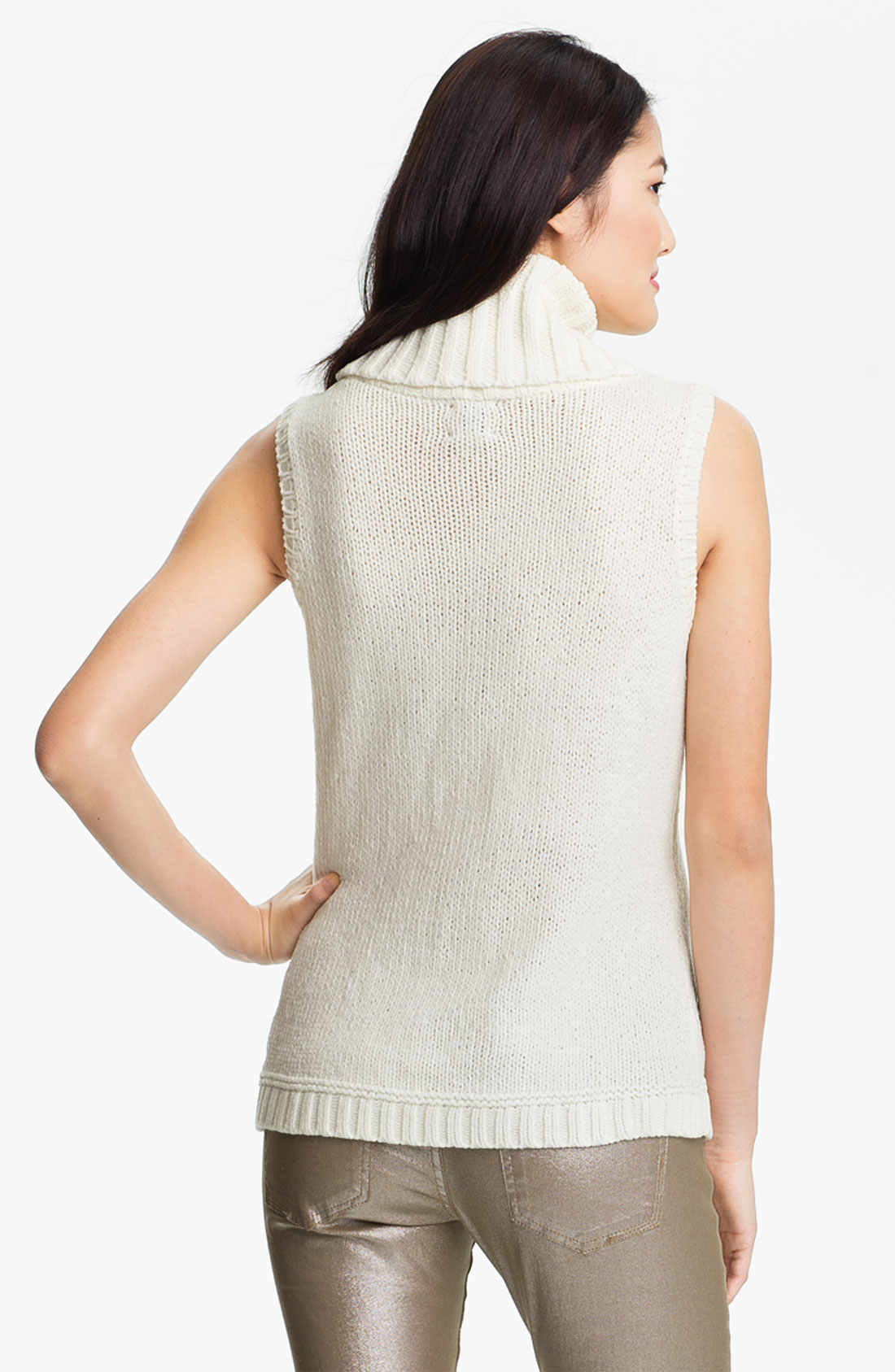 Anne Klein Sleeveless Cowl Neck Cable Sweater In White