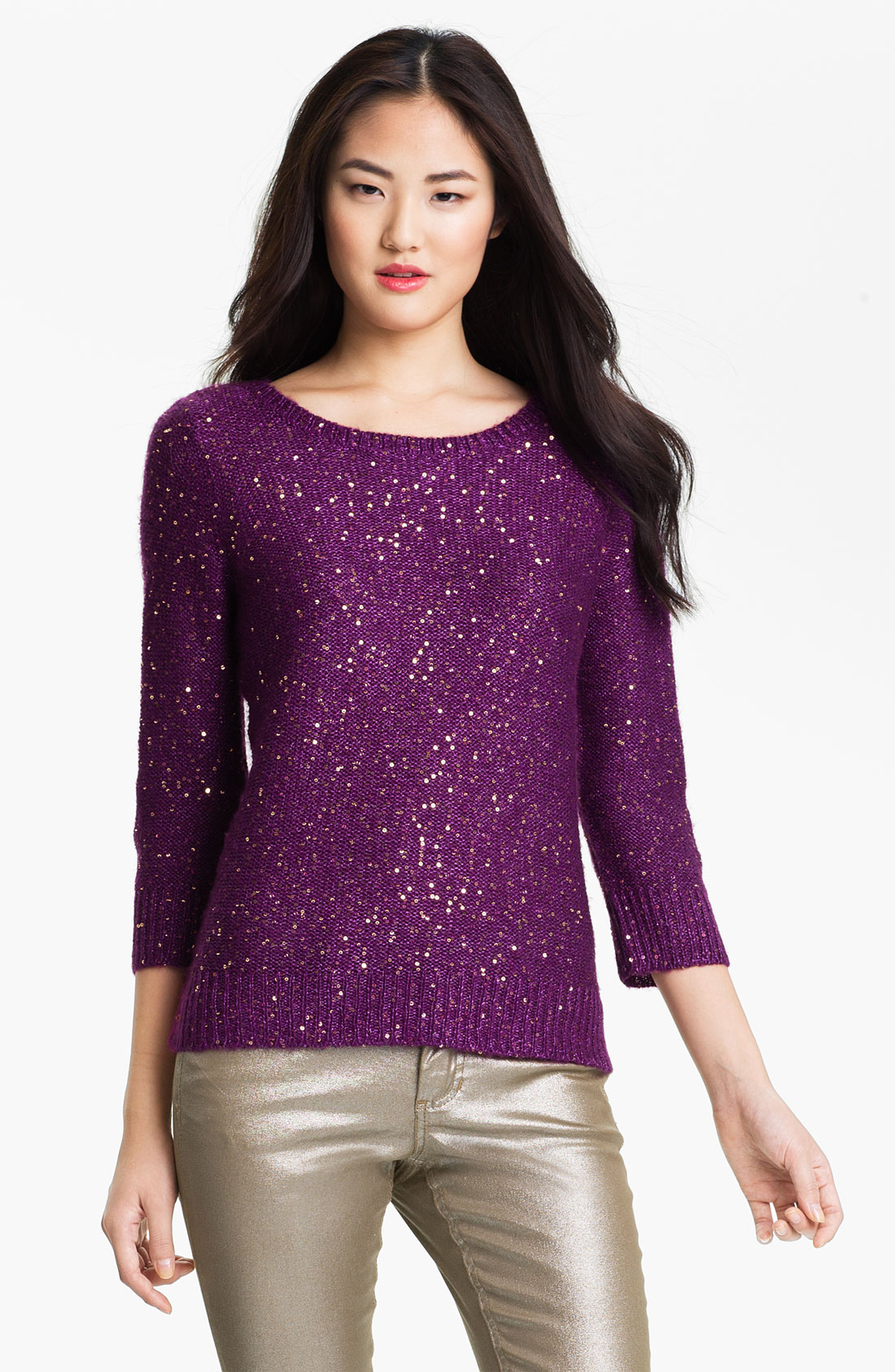 Anne klein Bateau Neck Sequin Sweater Petite in Purple | Lyst