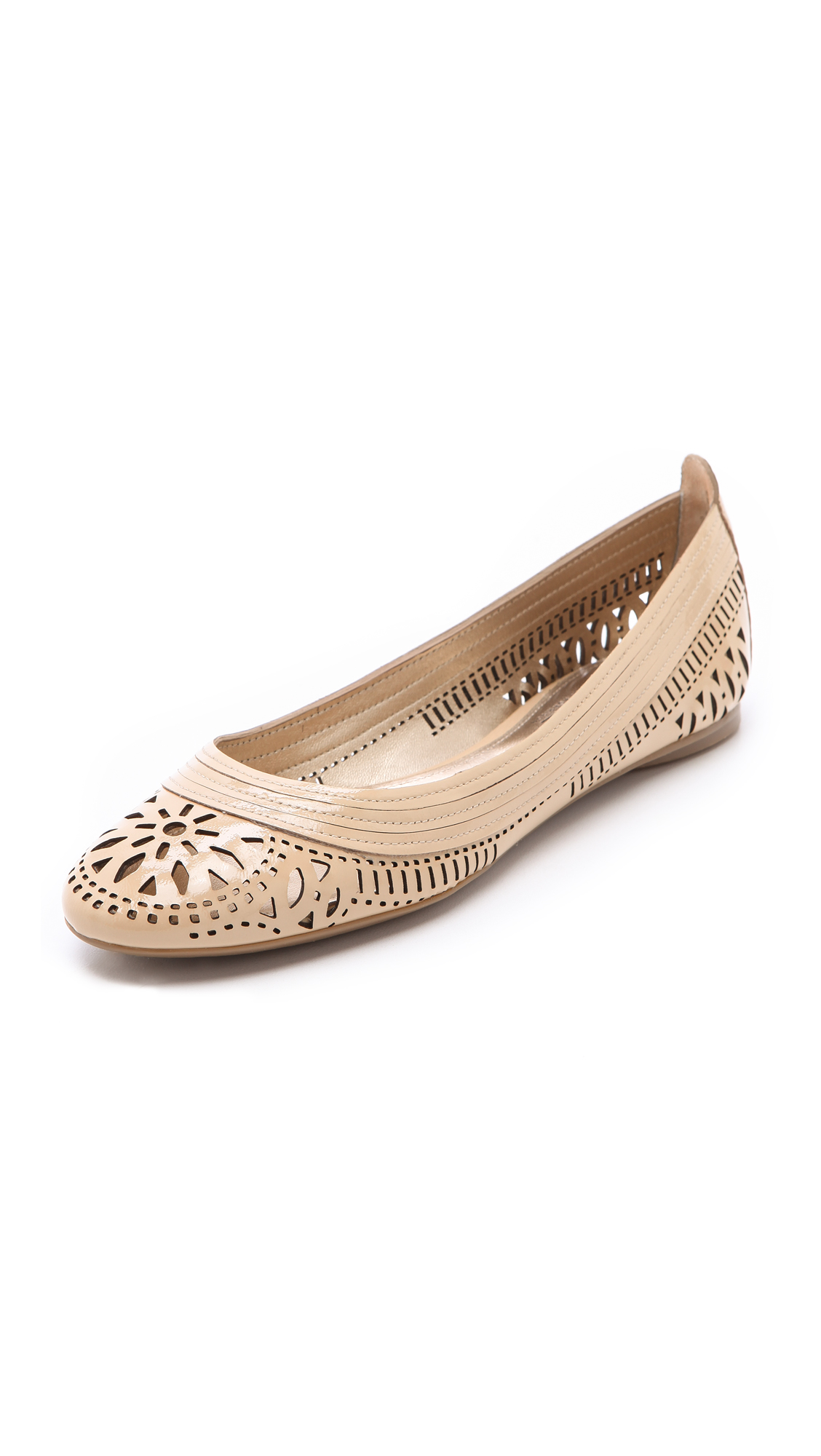 Belle By Sigerson Morrison Laser Cut Ballet Flats In Nude