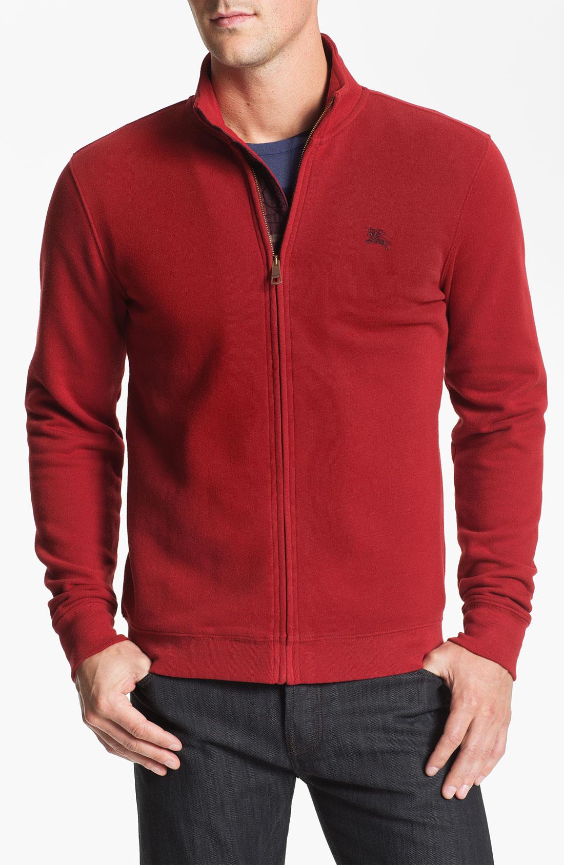 Burberry brit Carr Zip Front Fleece Jacket in Red for Men | Lyst