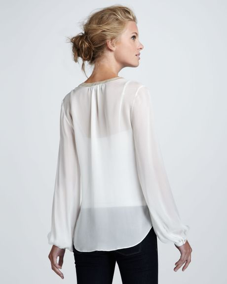 White Sheer Silk Blouse 20