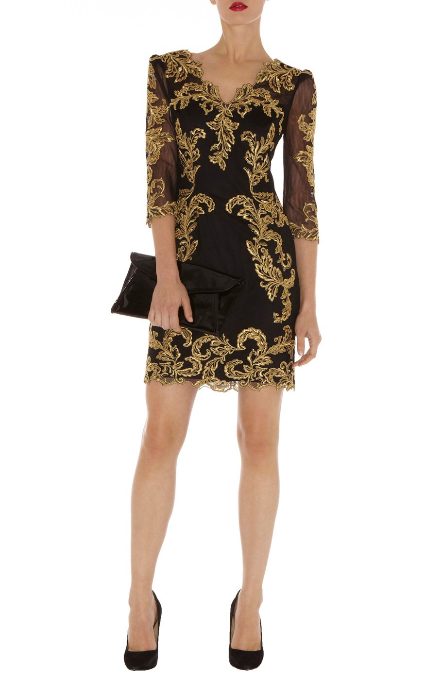 Lyst Karen Millen Baroque Mesh Dress In Black
