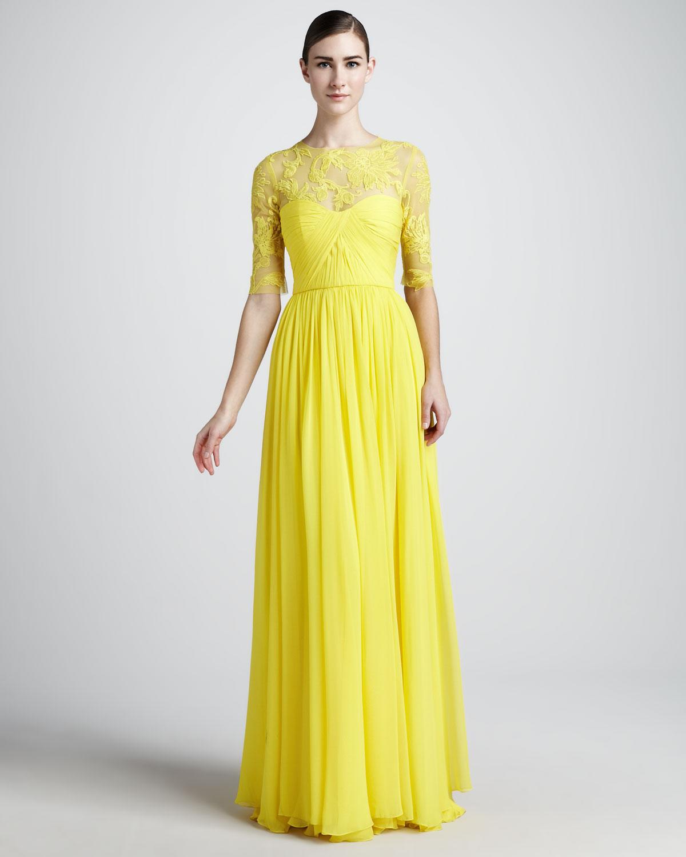 Lyst - Monique Lhuillier Laceneck Gown in Yellow