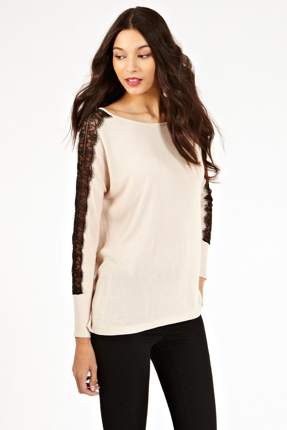 Oasis Lace Shoulder Top in Pink