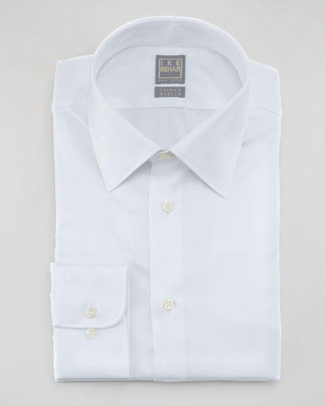ike behar herringbone dress shirt in white for men lyst