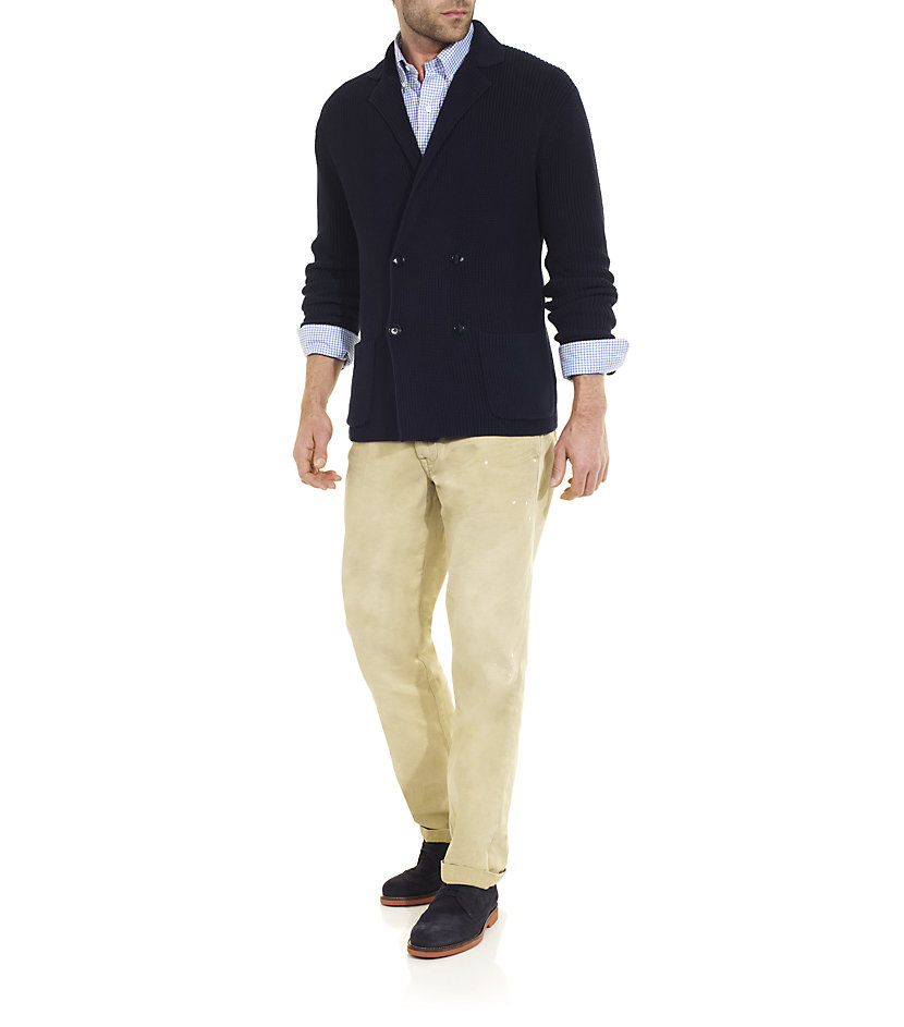 polo ralph lauren cotton blazer in blue for men white lyst. Black Bedroom Furniture Sets. Home Design Ideas