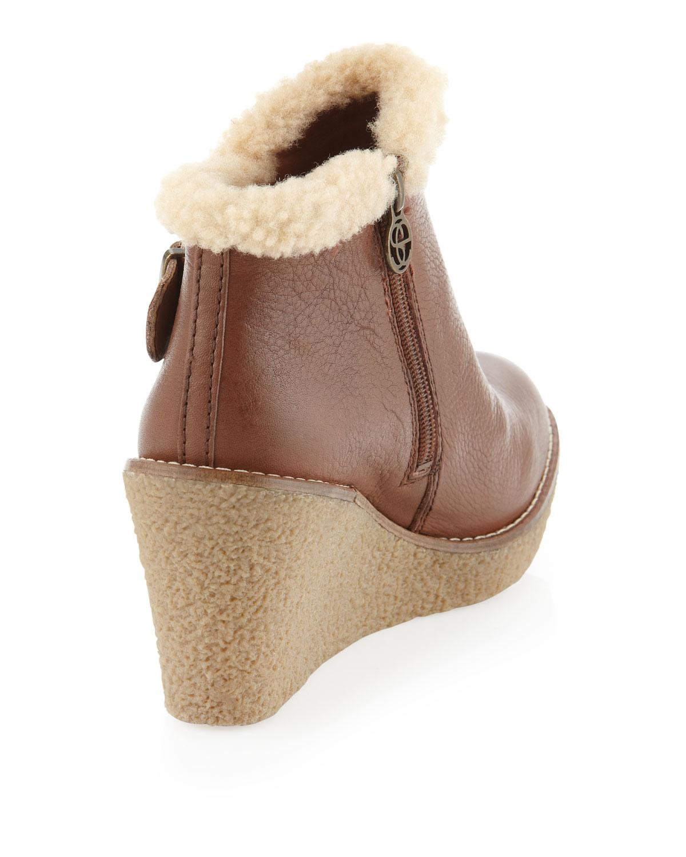 5416dbb3b854c4 Lyst - Sam Edelman Jayla Faux Fur Trim Wedge Bootie in Brown