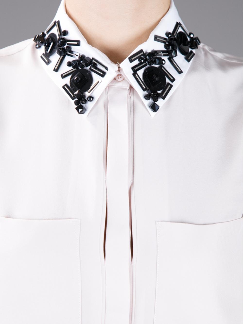 White Blouse Embellished Collar 84