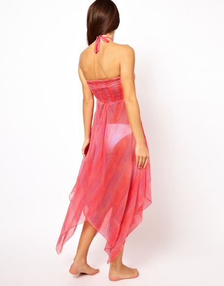 Asos Shirred Bandeau Graphic Print Maxi Beach Dress In