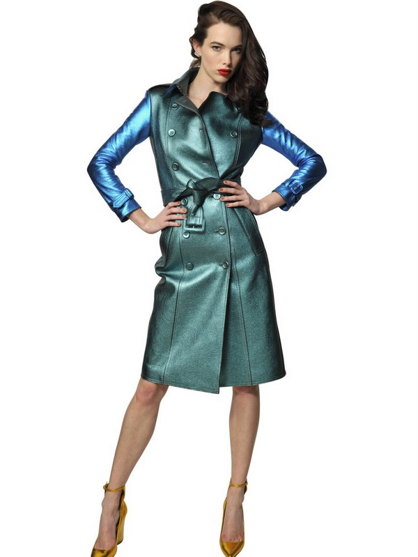 Burberry prorsum Two Tone Metallic Leather Trench Coat in Blue | Lyst