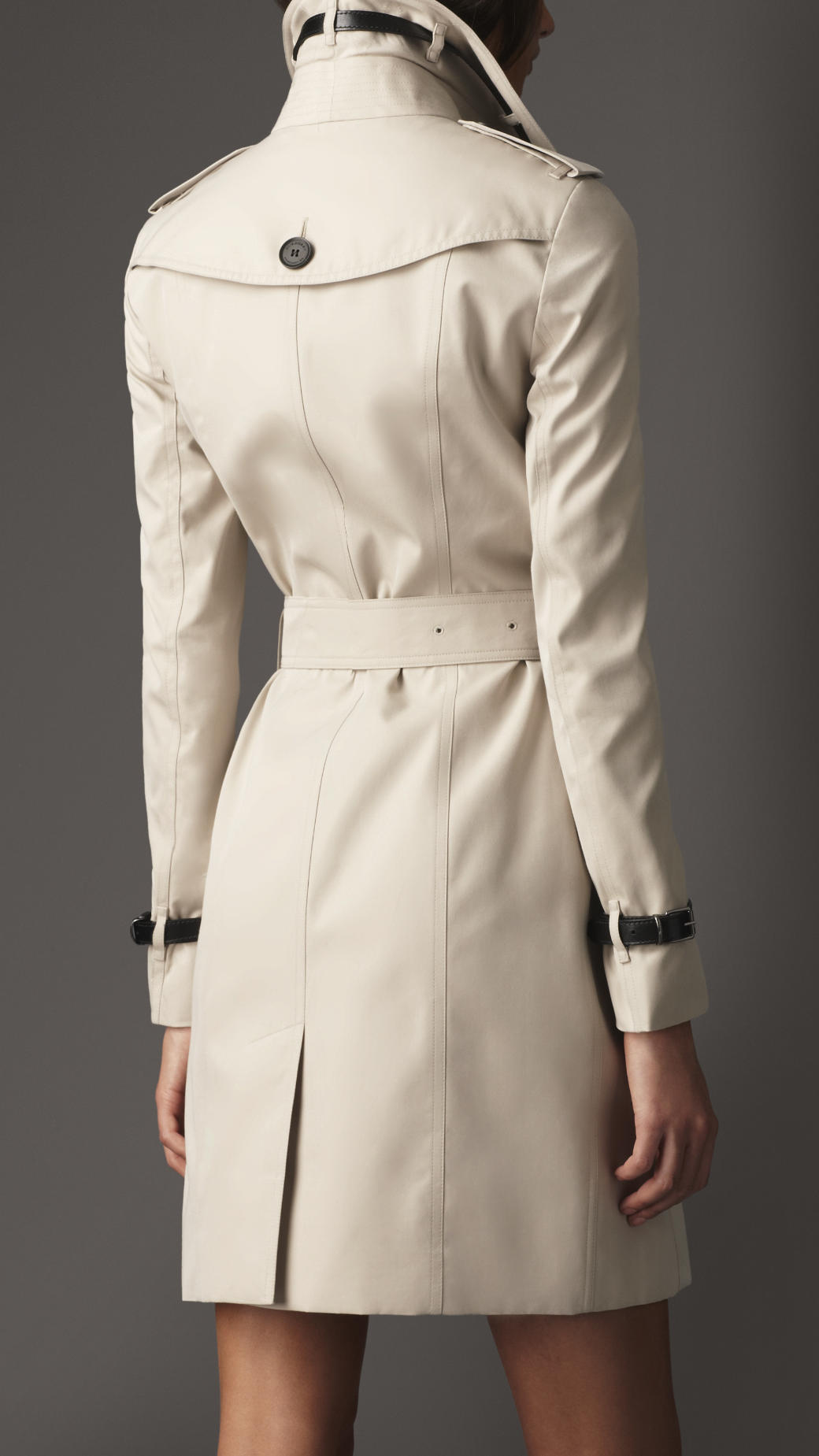 Burberry Long Slim Fit Leather Detail Trench Coat In