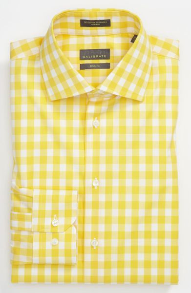 Mens Yellow Gingham Shirt