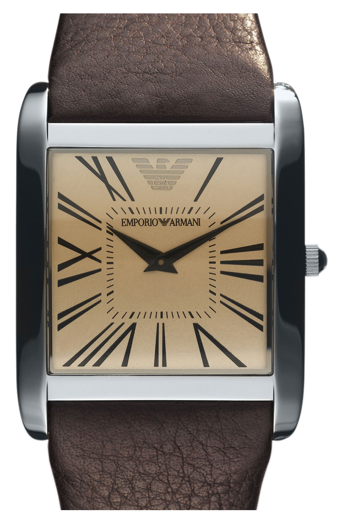 Lyst Emporio Armani Square Case Leather Strap Watch In