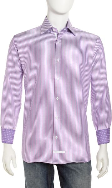 English Laundry Striped Dress Shirt In Purple For Men