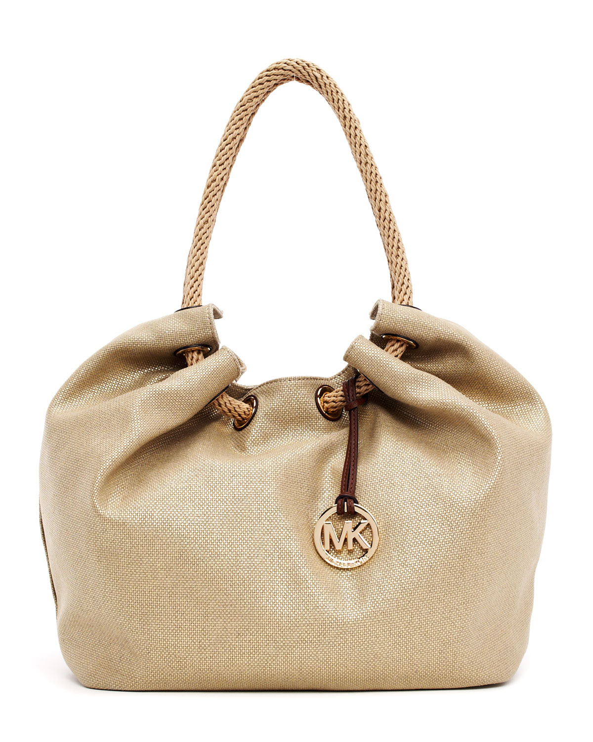 f4ac453e4bb0 Lyst - MICHAEL Michael Kors Large Marina Metallic Canvas Shoulder ...