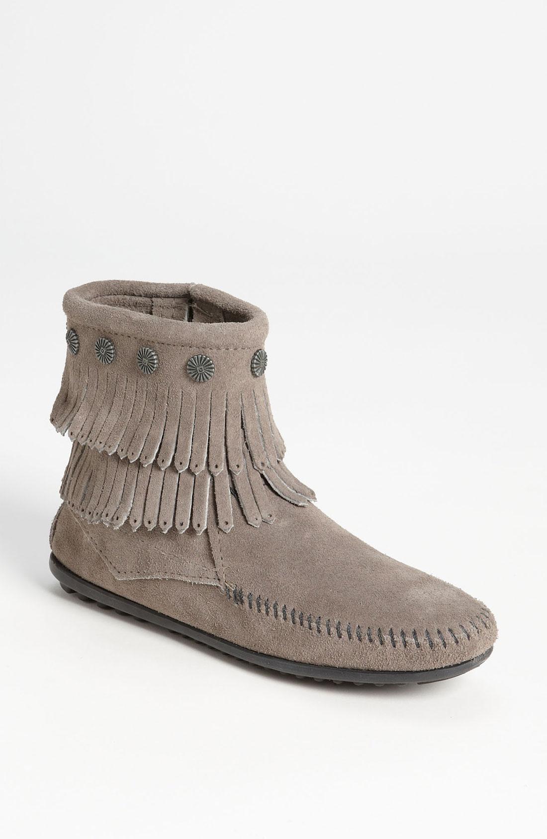 Minnetonka Double Fringe Boot In Gray Grey Lyst