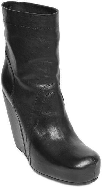 rick owens calfskin wedge boots in black lyst