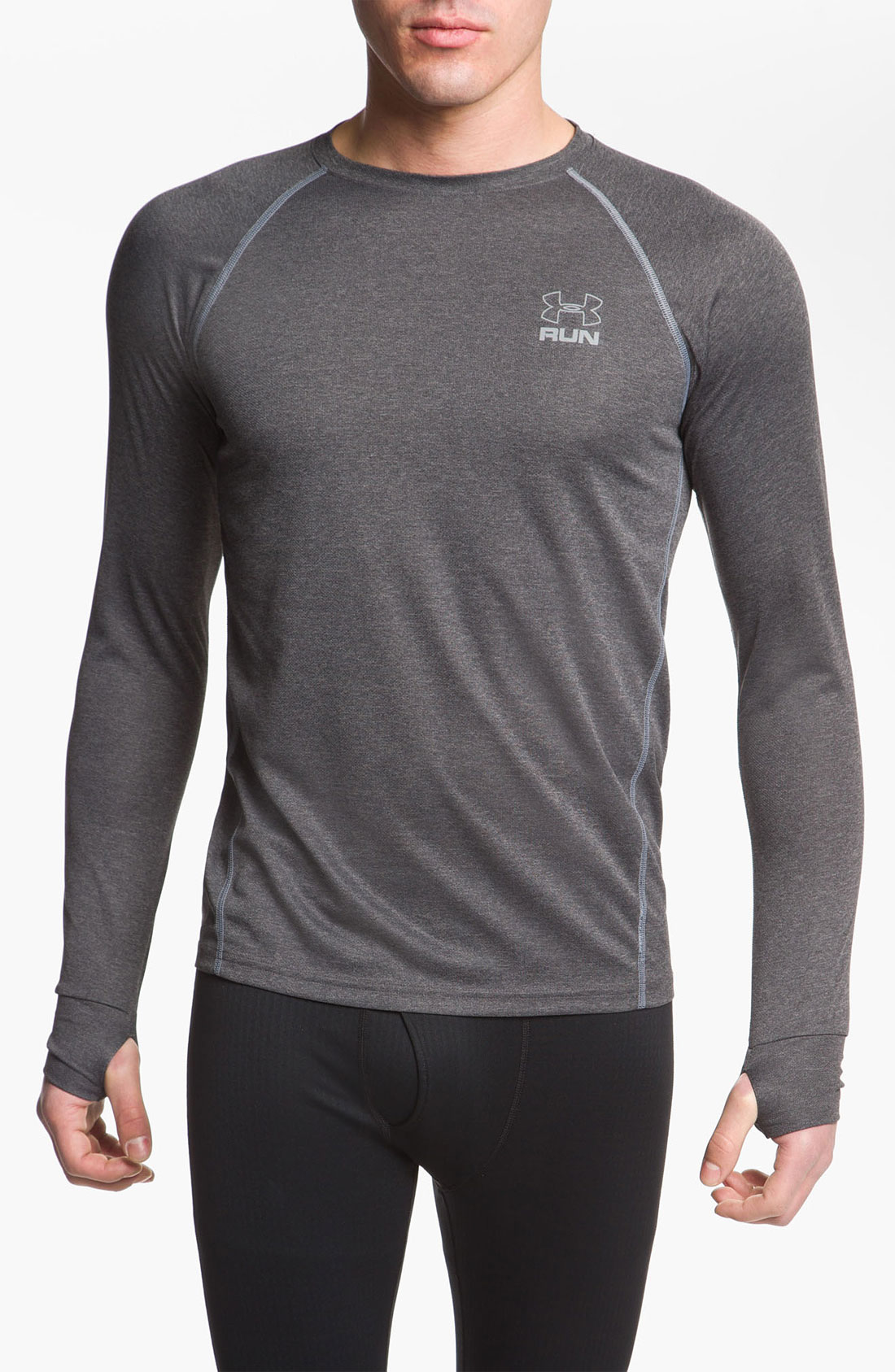 Under armour run regular fit heatgear tshirt in gray for for Gray under armour shirt