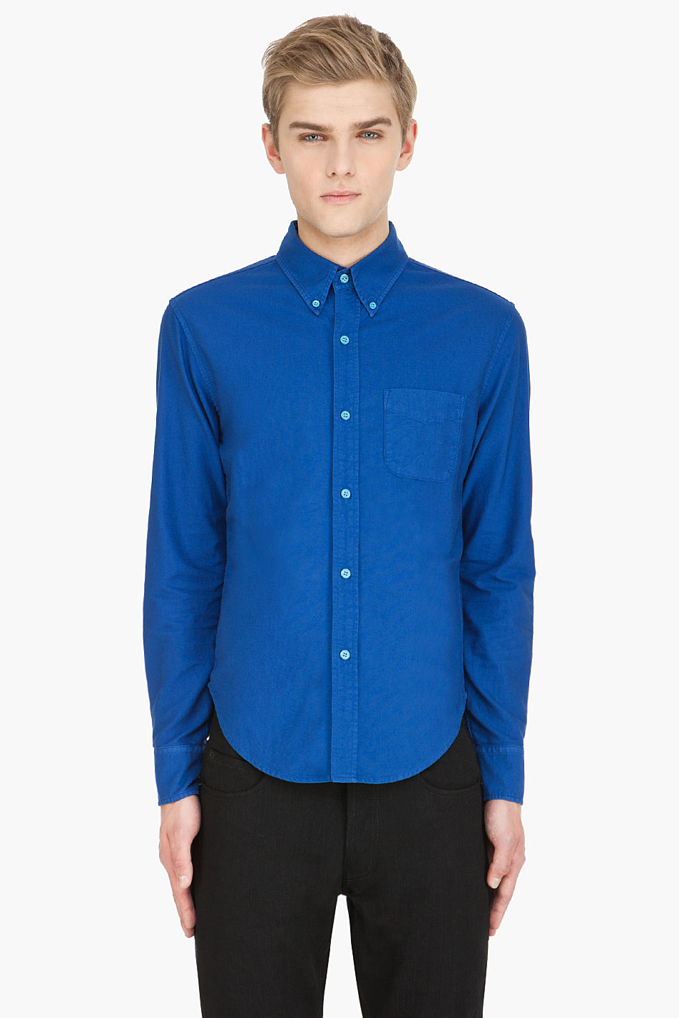 Band Of Outsiders Blue Oxford Button Down Shirt In Blue