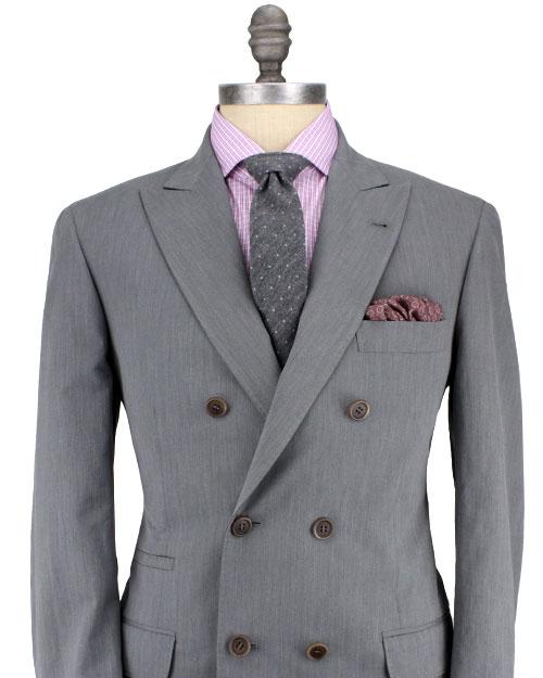 Brunello cucinelli Grey Mini Herringbone Double Breasted Suit in ...