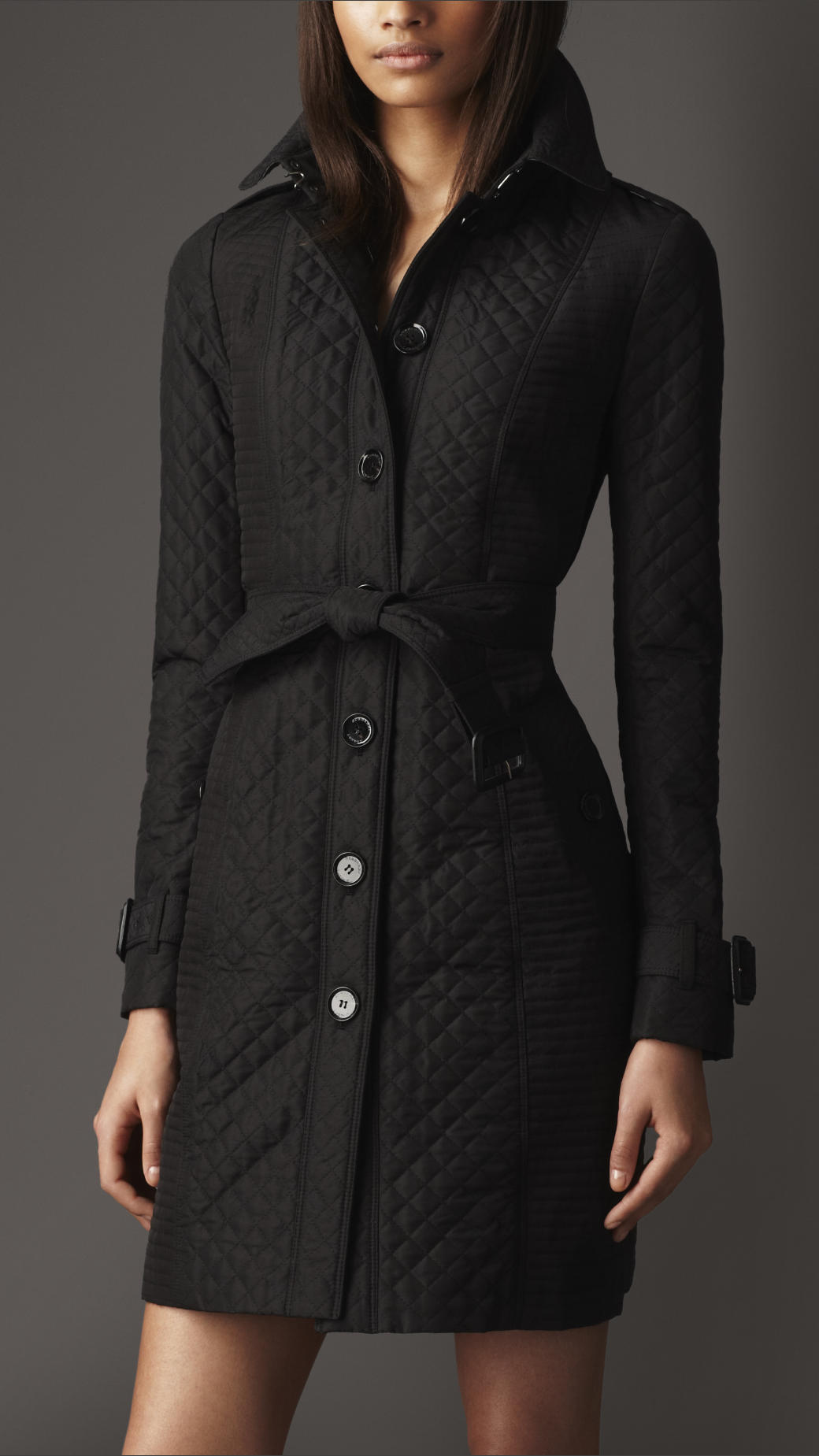 Burberry Long Quilted Trench Coat In Black Lyst