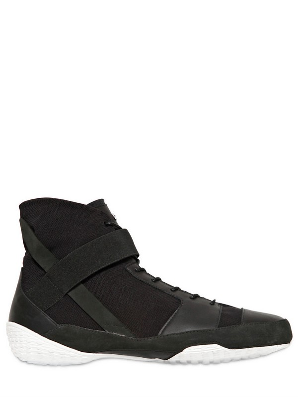 Adidas Slvr Leather And Suede Wrestling Sneakers In Black