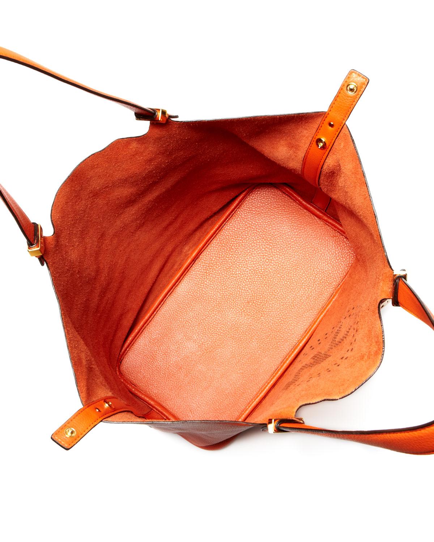 d237b23277e7 Lyst - Michael Kors Large Perforatedlogo Grab Bag in Orange