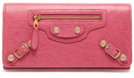 Balenciaga Money Leather Long Wallet in Pink