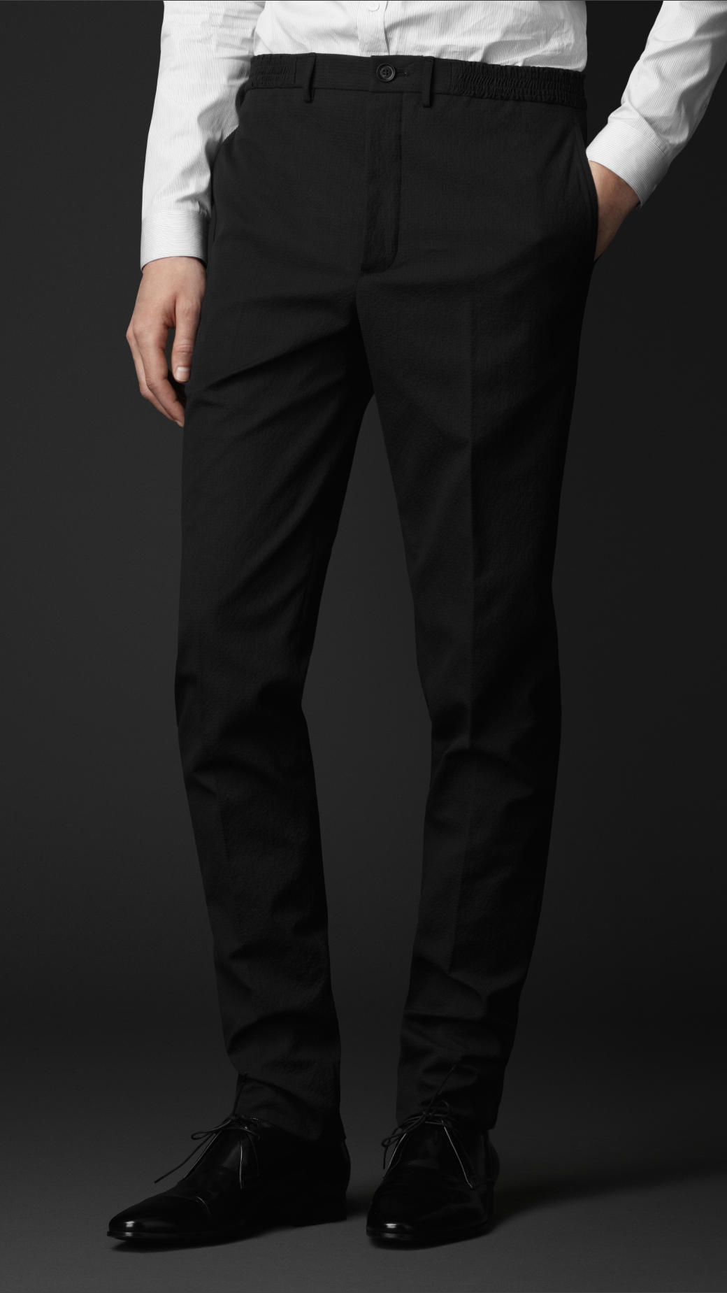 Burberry Cotton Slim Fit Seersucker Trousers in Blue for Men