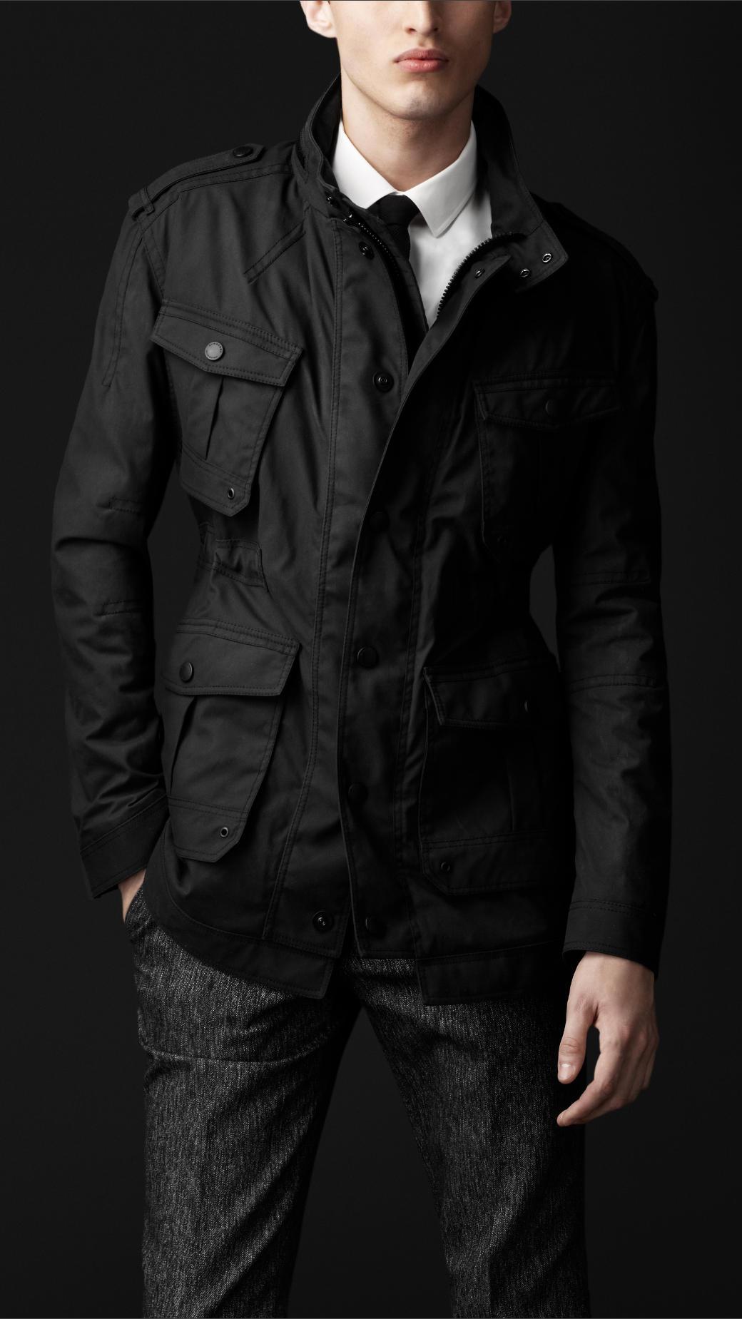 Mens black cotton field jacket