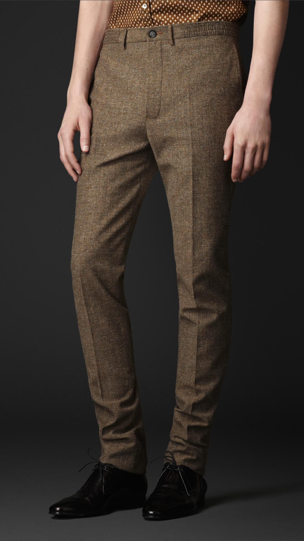Burberry Prorsum Slim Fit Tweed Trousers In Camel Brown