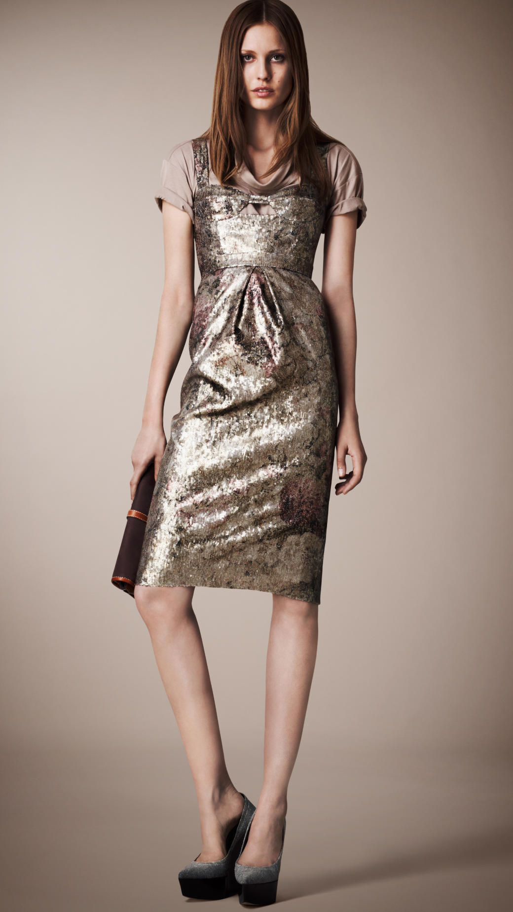 Lyst Burberry Prorsum Sequin Bustier Dress In Metallic