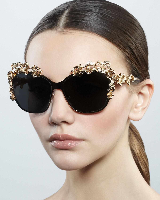 acb5c15d955 Lyst - Dolce   Gabbana Baroque Flower Square Sunglasses in Metallic