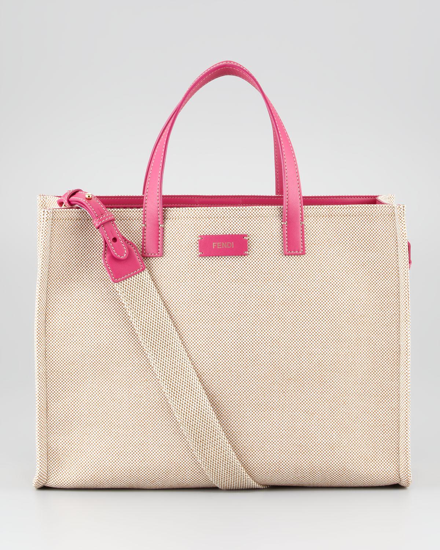cac20ce977 ... australia lyst fendi simply shopping canvas tote bag in natural bfad3  b7176