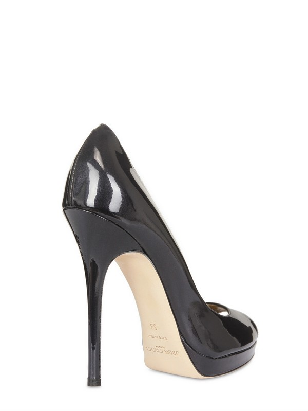 4094aeaf1a1 Jimmy Choo Black 100mm Quiet Patent Leather Open Toe Pump