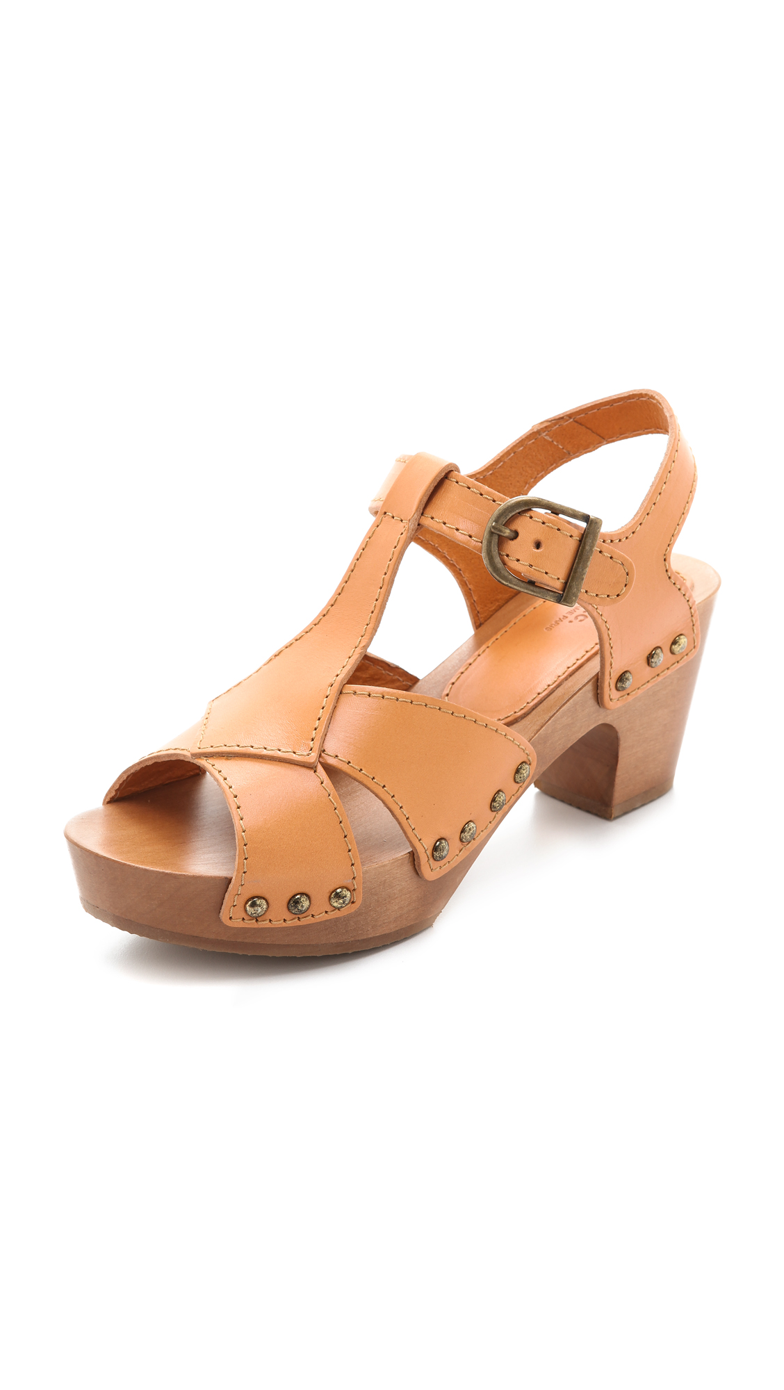 A P C Slingback Clog Sandals In Brown Beige Lyst