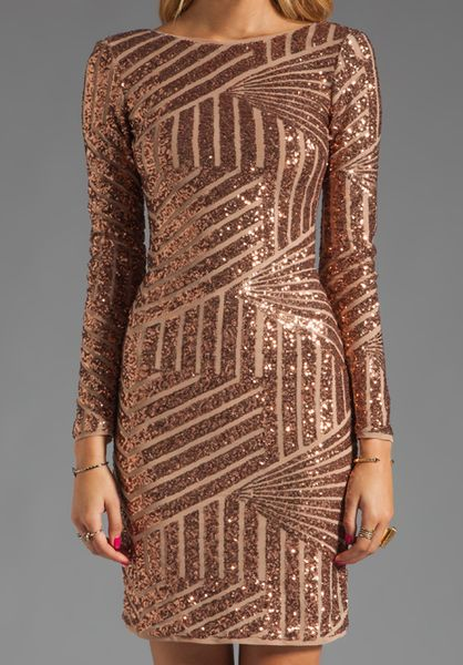 Bcbgmaxazria Sequin Long Sleeve Scoop Back Dress In Brown