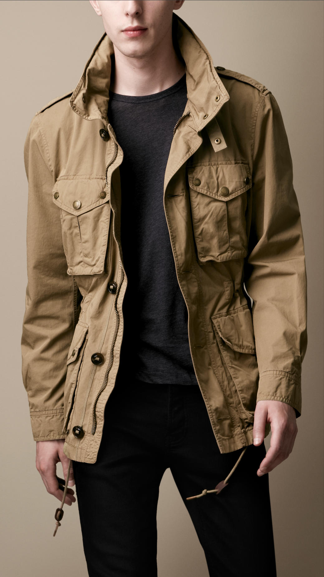 Burberry Brit Heritage Cotton Field Jacket In Pale